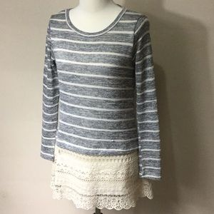 Women's Altar'd State Stripe Sweater with Lace Hem